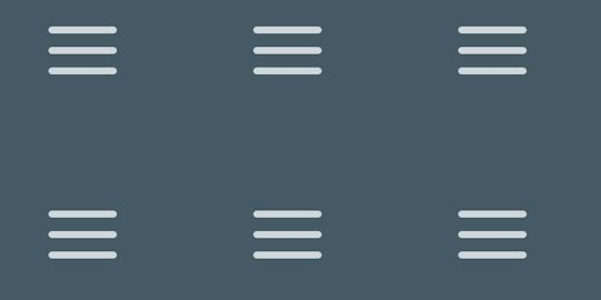 Various hamburger menu animation that transforms to directional icons and close button on click. Designed by   Razvan Spatariu.   If you are having trouble with the pen, try the archived copy on GitHub    See the Pen WbmNLb by Razvan Spatariu (@RazvanDH) on CodePen.