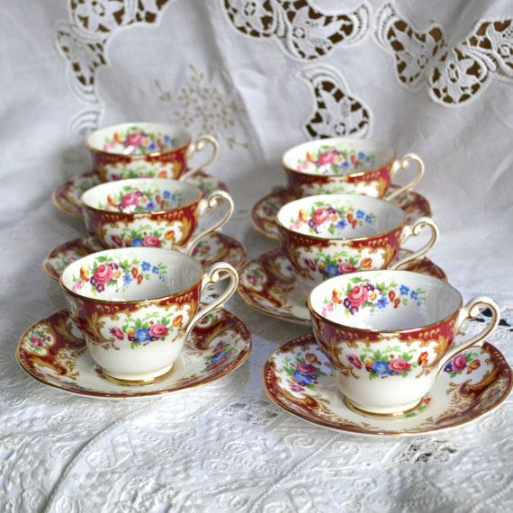 Cup Royal Standard English China Vintage Lady Fayre Maroon Gold Fl Sprays Pink Roses Demite Cups Saucers Coffee Set Uk Afternoon Tea