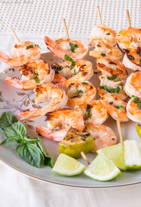Shrimp skewers with ginger, lime and fresh basil……Скаридки с босилек и лайм | Vessy's day