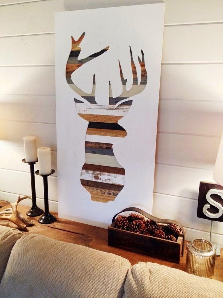 décoration murale bois à faire soi-même- tableau silhouette de cerf