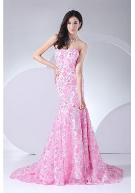 Printing Mermaid Strapless Brush Train 2013 Prom Dress For Formal Evening