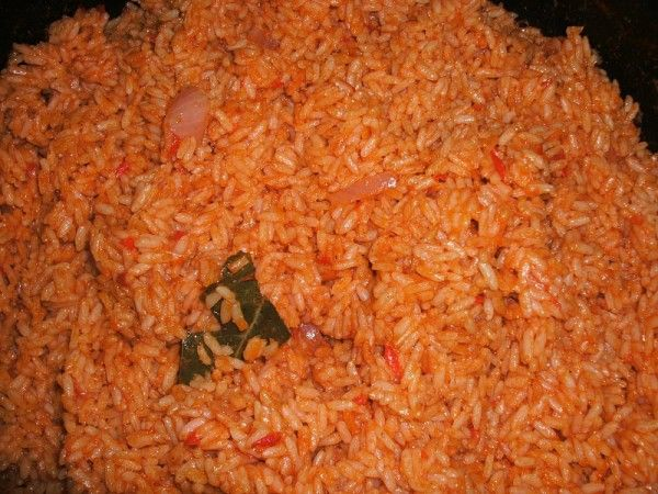 Spicy Jollof rice.  Good recipe