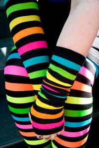 Black stripes alternate with broad bands of neon for arms that command attention! Pair them with the  Neon Rainbow Acrylic Tights  for the ultimate in . . . well, everything!