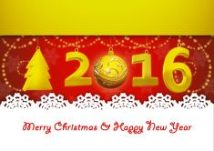 Merry Christmas and Happy New Year 2016 greeting card vector art illustration