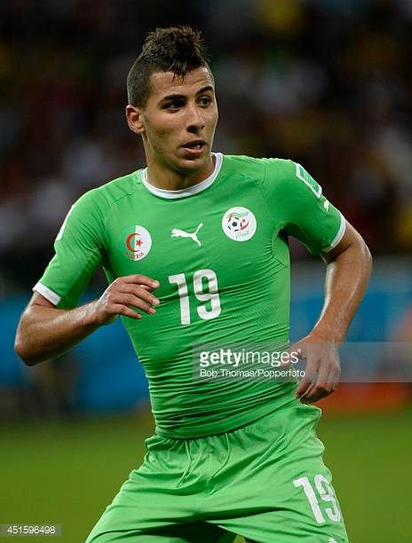 Saphir Taider in action for Algeria during the 2014 FIFA World Cup Brazil Round of 16 match between Germany and Algeria at Estadio BeiraRio on June...