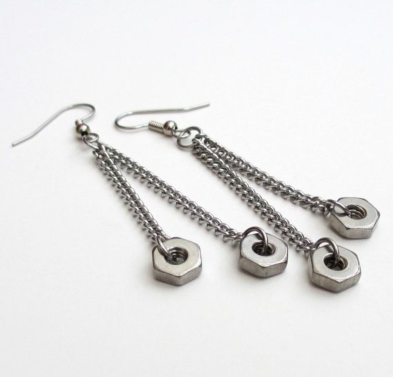 Stainless steel hex nut earrings, hardware jewelry