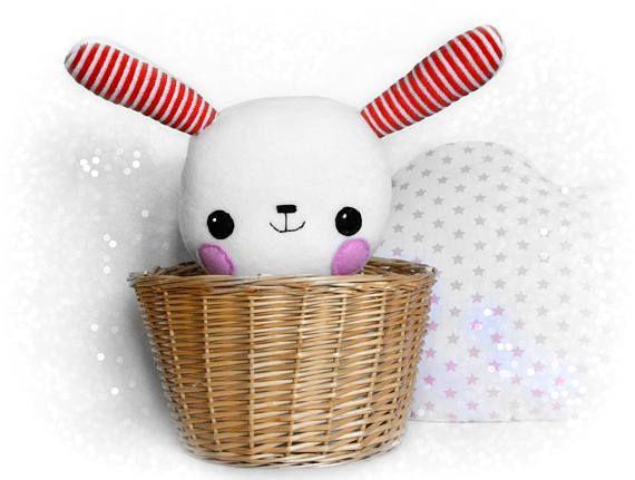 Stuffed bunny, stuffed animal, kawaii bunny, white plush bunny, toddler gift, toddler toy, baby shower gift, handmade toy, soft rabbit doll