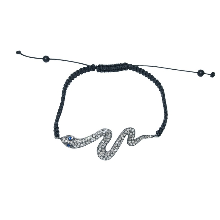 "Plukka ""Eve"" Diamond, Blue Sapphire  & Black Rhodium Silver Bracelet  US$390"