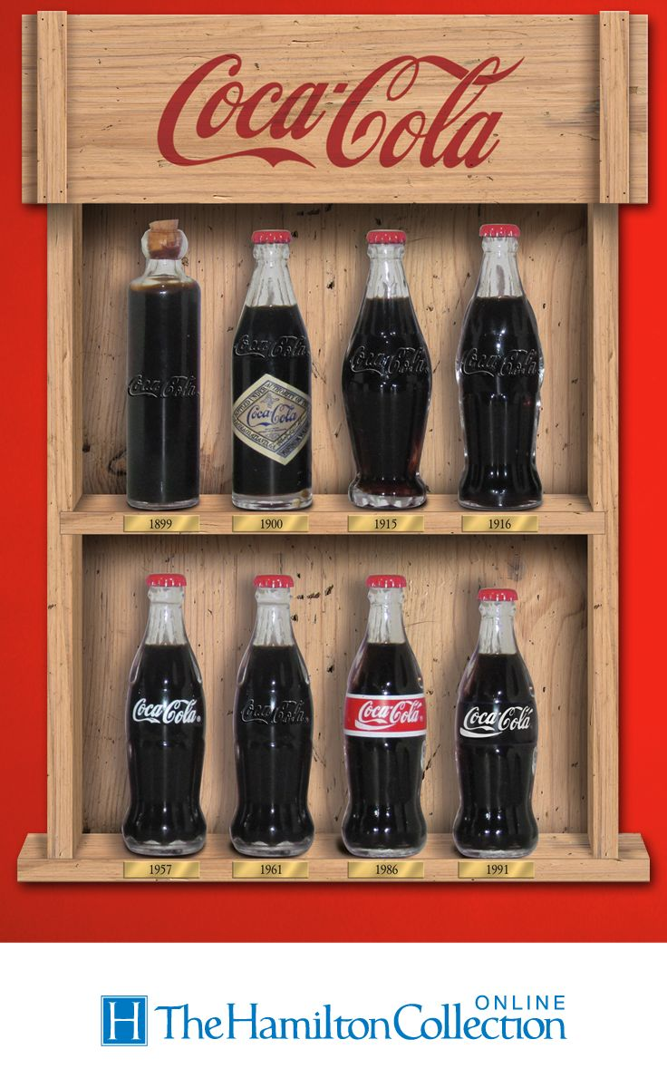Limited-edition handcrafted figurines showcase the evolution of the iconic bottle design from 1899 -1991. Wooden display case, collector cards.