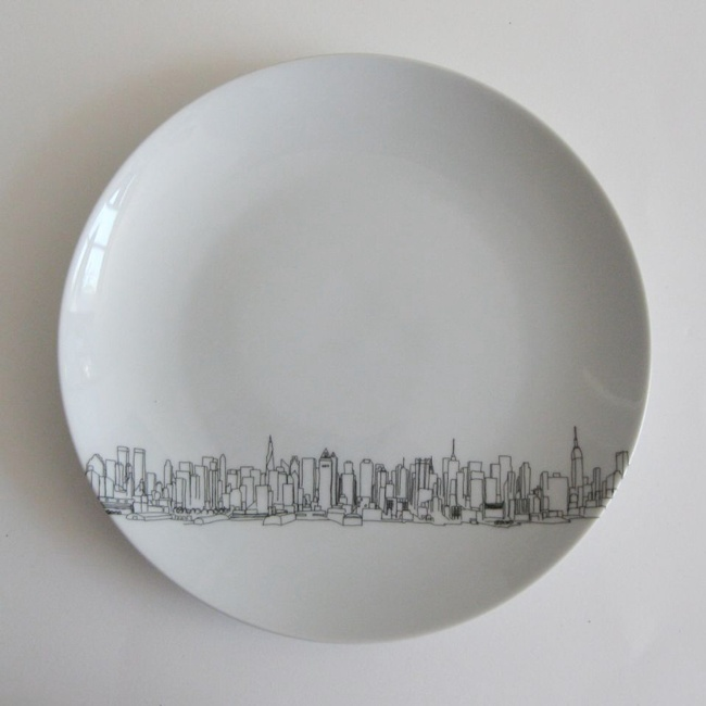 Skyline Dessert Plates by Rust Designs.....this might be easy enough & 47 best Sharpie on Ceramics images on Pinterest | China painting ...