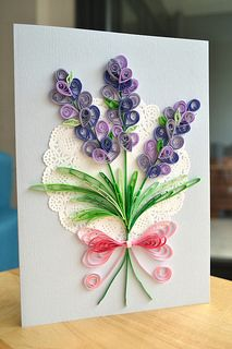 Quilled lavender Mothers day card