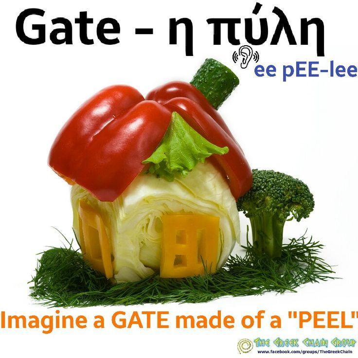 "Gate - πύλη Imagine  GATE is made of ""PEEL""  LEARN GREEK"