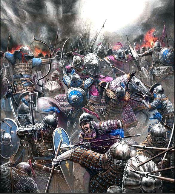 Ilkhanate armies battling Golden Horde army