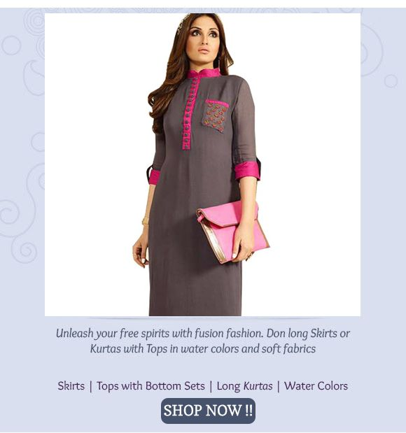 GREY & PINK GEORGETTE EMROIDERED DESIGNER KURTI. Up TO 50% OFF BUY NOW !!! Only Rs.1799