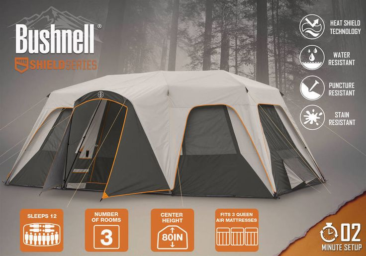 12 Person Tent 18' x 11' Bushnell Heat Shield Instant Cabin Tent Hunting Camping #Bushnell