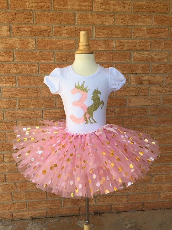 Third Birthday Shirt 3rd Outfit Girls Unicorn Party 3 Year Old Pink And Gold Crown