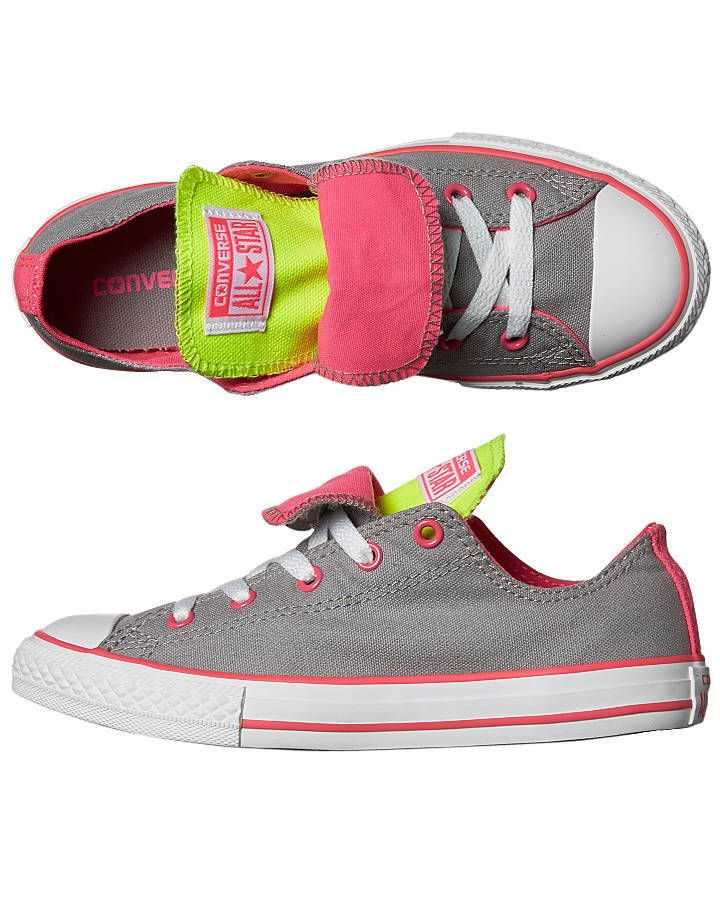 Image of Converse grey pink and yellow double tongues