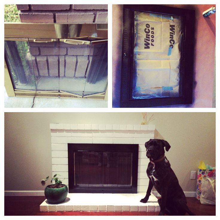 $5 fix to revamp my fireplace. I used heat resistant spray paint from Lowe's.