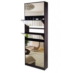 Five-Level Stackable Mirrored Shoe Cabinet Brown Men Boys Lady Women Girls