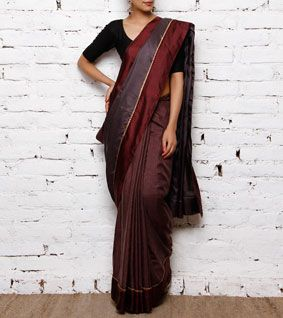 Grey & Maroon Pure Silk Saree
