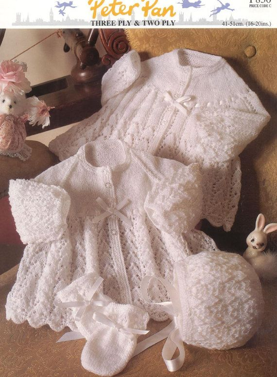 Baby Knitting Pattern for Baby Jacket, Bonnet and Mitts 16- 20 ins