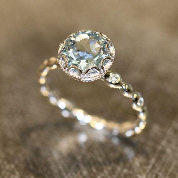 Floral Aquamarine Engagement Ring in 14k White Gold Pebble Diamond Wedding Band 8mm Round Cut Blue Gemstone Ring March Birthstone Ring von LaMoreDesign auf Etsy https://www.etsy.com/de/listing/474162770/floral-aquamarine-engagement-ring-in-14k