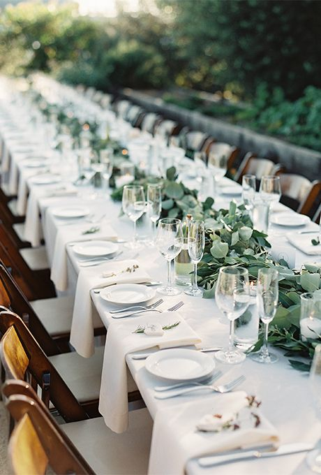 Long Banquet Wedding Tables: Rustic Outdoor Wood and Ivory Table  | Brides.com