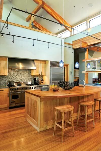 Not a kitchen I particularly like, but just looking at lighting solutions for high ceilings.