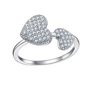 D/VVS1 18K White Gold Over Sterling Silver Heart Shaped Promise Ring For Womens by JewelryHub on Opensky