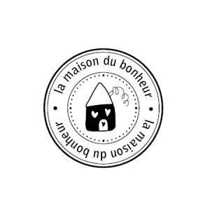 Florilèges Design - Tampon bois - La maison du bonheur - 4.2 x 4.2 cm