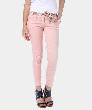 EPHYRA // pantaloni rosa con cintura foulard // visto su www.privalia.com