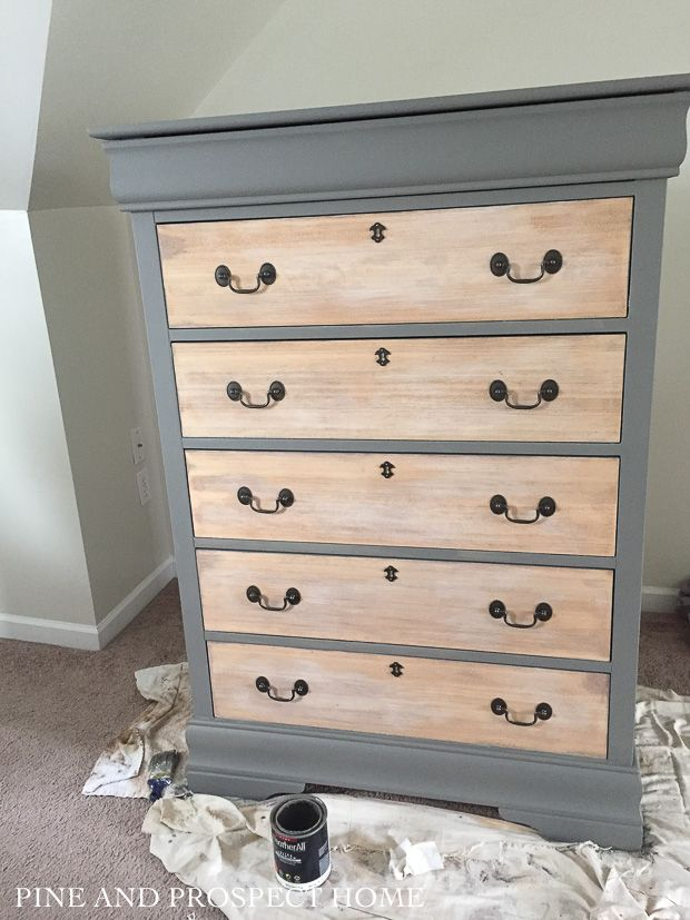 Painted Dresser With Raw Wood Drawers Refinished Dresser Diy Diy Dresser Makeover Diy Dresser