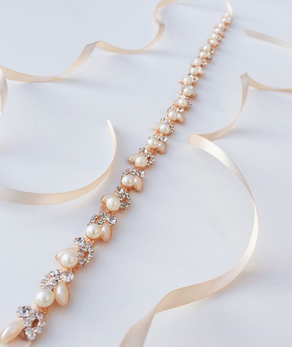 Rose Gold Pearl Bridal Sash | Thin Rose Gold Crystal Wedding Belt | Rose Gold…