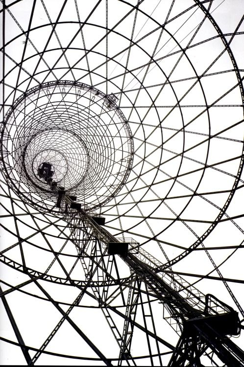 Russia, Moscow, 1922, Shukhov's radio tower The first permanent industrial structure after the revolution.