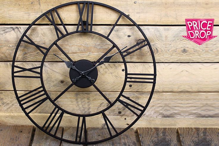 Iron Roman Numeral Clock - 2 Sizes! deal in Art Party like it's 99AD with a Roman numeral wall clock.  Made from iron and perfect for the garden fence or inside your home.  Choose between a 40cm diameter or a larger 60cm diameter.  The skeleton design is inspired by classical French design.  All clocks are handmade and designed to look rustic and vintage.  A stylish addition to your home! BUY...