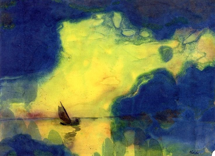 The Sea at Dusk, watercolor by  Emile Nolde http://paintwatercolorcreate.blogspot.com/2013/08/the-vibrant-watercolors-of-emil-nolde.html