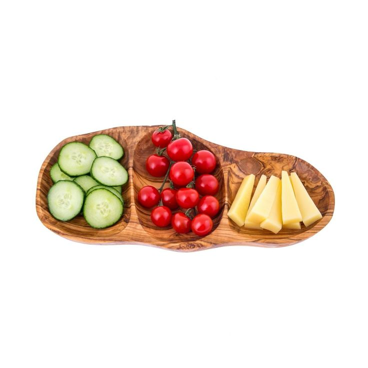 Olive Wood Serving Platter or Wooden Tray, 3 Compartment Sectional