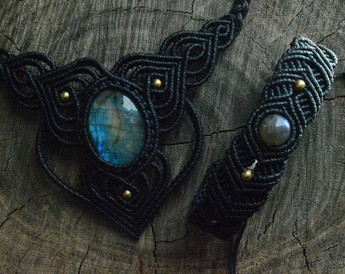 CUSTOM ORDER | Labradorite necklace and bracelet set with black waxed cord and brass beads