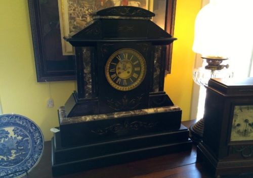 "Marble Mantle Clock   23"" Wide x 9"" Deep x 24"" High   $1895  Butler Creek Antiques Dealer #8804  Lucas Street Antiques 2023 Lucas Dr. Dallas, TX 75219  Like us on Facebook: https://www.fa"