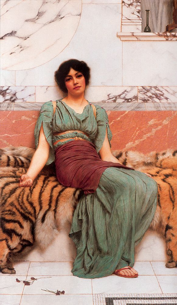 "Usually my desktop wallpaper! Such sadness in her eyes and her body -- ""Sweet Dreams"" John William Godward (1861 – 1922) was an English painter from the end of the Pre-Raphaelite / Neo-Classicist era. He committed suicide at the age of 61 and is said to have written in his suicide note that ""the world was not big enough"" for him and a Picasso."