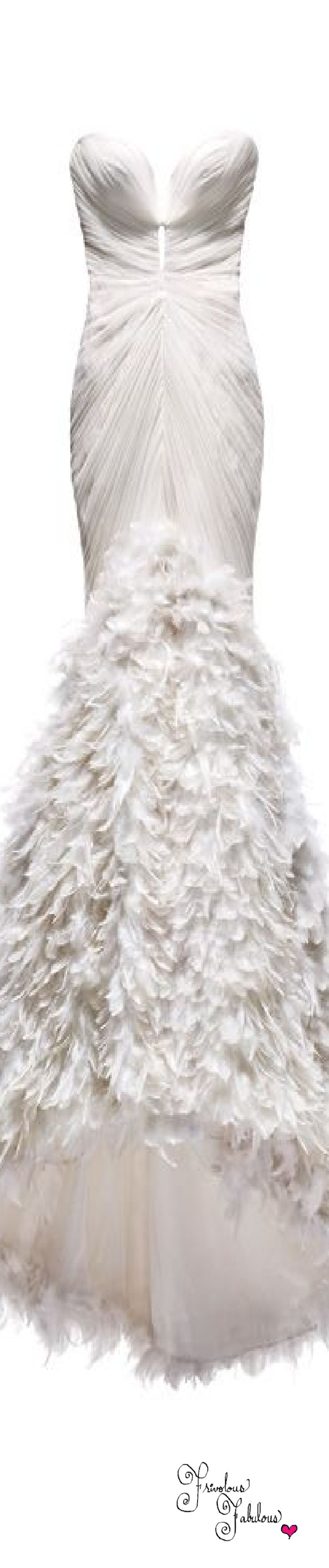 Frivolous Fabulous - Mark Zunino White Feathered Mermaid Bridal Gown