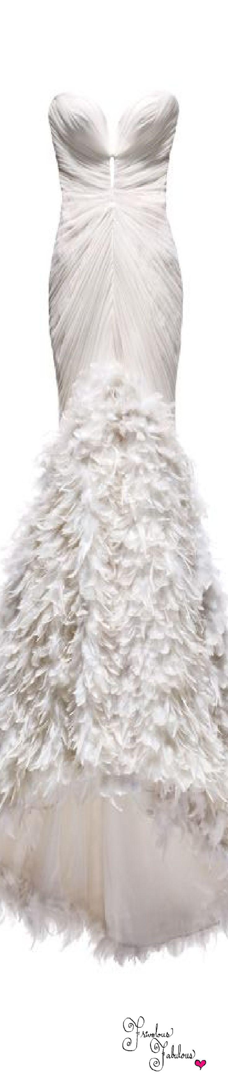 Frivolous Fabulous - Mark Zunino White Feathered Mermaid Bridal Gown