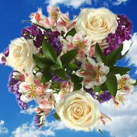 White Wedding Flower Arrangements Alstroemerias Roses | Global Rose $139 for 12 centerpieces