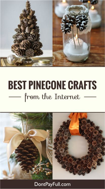 Here are 20 Best Pinecone Crafts from the Internet to make your day! Get some glue, twine and pinecones and create beautiful ornaments! Save money! #DontPayFull