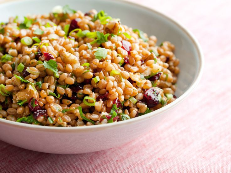 Wheat Berry Salad Recipe from Ellie Krieger on FoodNetwork.com  -  This healthy recipe Nutritional Info: Calories 360; Total Fat 17 g; (Sat Fat 2 g, Mono Fat 6 g, Poly Fat 8 g) ; Protein 9 g; Carb 46 g; Fiber 8 g; Cholesterol 0 mg; Sodium 15 mg  Excellent source of: Fiber, Vitamin K, Manganese  Good source of: Protein, Vitamin A, Vitamin C, Copper, Iron  -  For the complete recipe, simply click on the photo.  ENJOY!