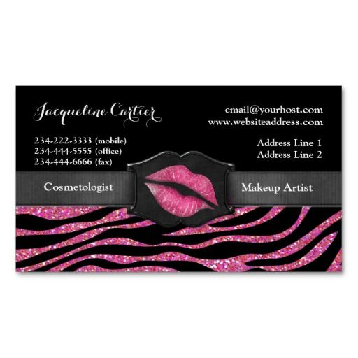 MAGNETIC... Elegant Pink Zebra Glitter Kiss Cosmetologist Magnetic Business Cards
