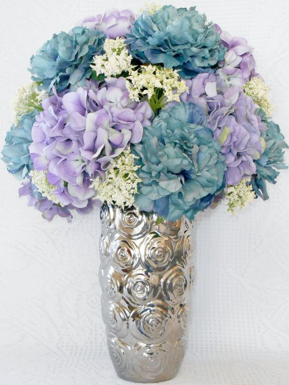 Artificial Flower Arrangement, Teal Peonies, Lavender Hydrangea, Silver Vase with Rosettes, Silk Flower Arrangement, Silk Floral Arrangement...