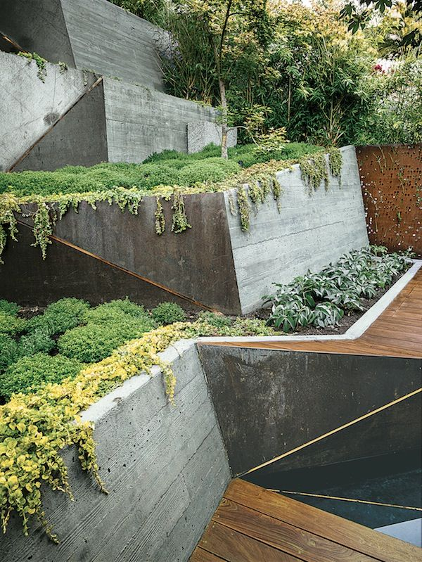 Hillside haven outdoor landscaping formed concrete for Haven home and garden design