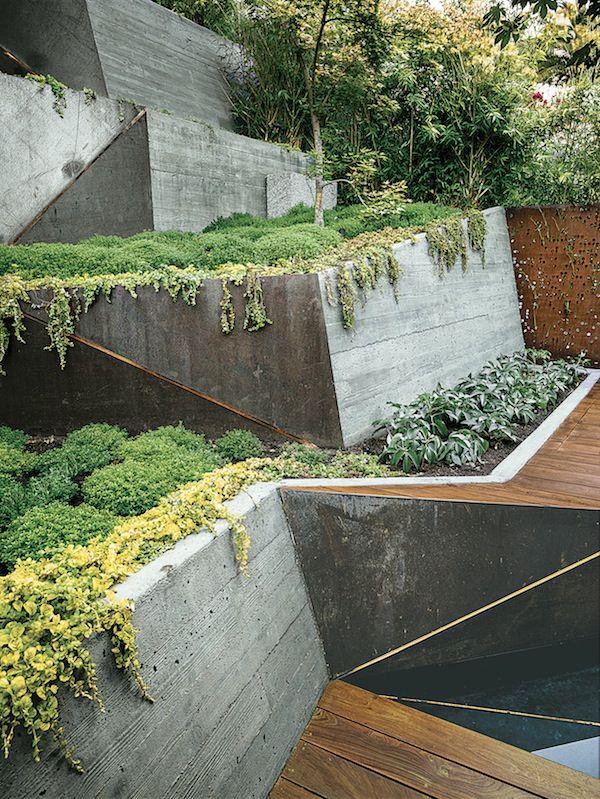 Hillside haven outdoor landscaping formed concrete for Haven home and garden design