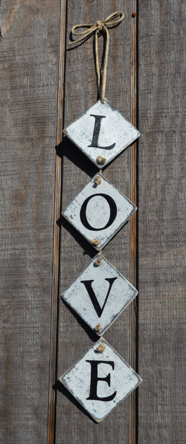 LOVE Wood Hanging Sign Garland Type by CarovaBeachCrafts on Etsy, $13.00